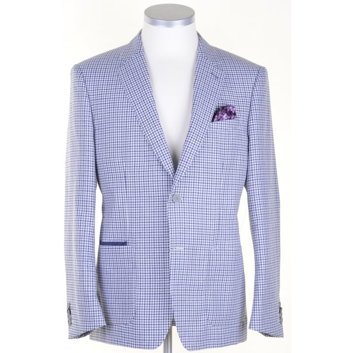 WITHOUT PREJUDICE Light Weight Navy Gingham Tailored Summer Jacket