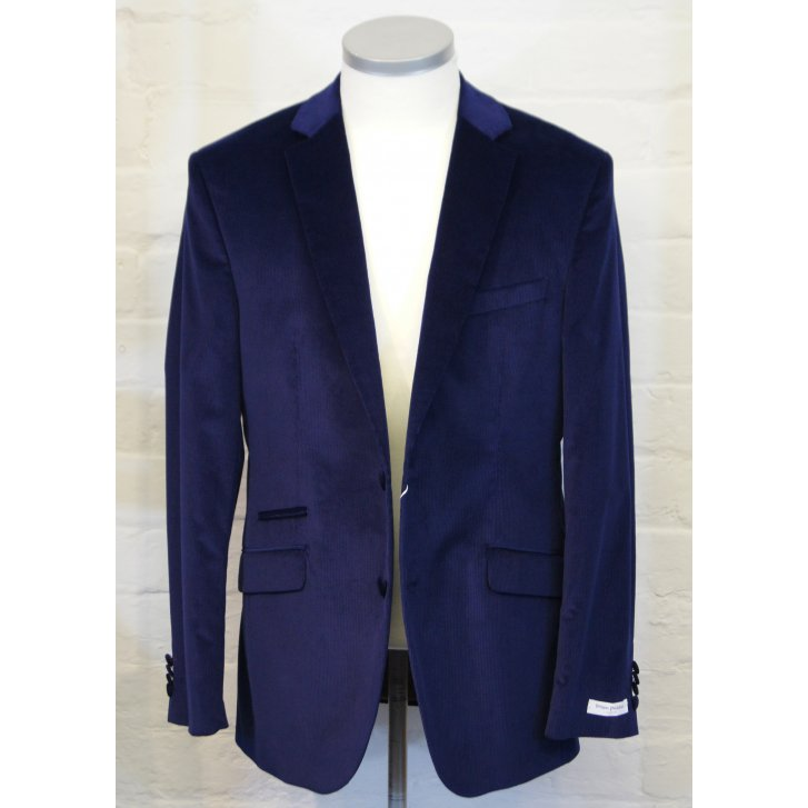 WITHOUT PREJUDICE Mens Stretch Blue Cord Single Breasted Tailored Jacket
