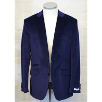 Mens Stretch Blue Cord Single Breasted Tailored Jacket
