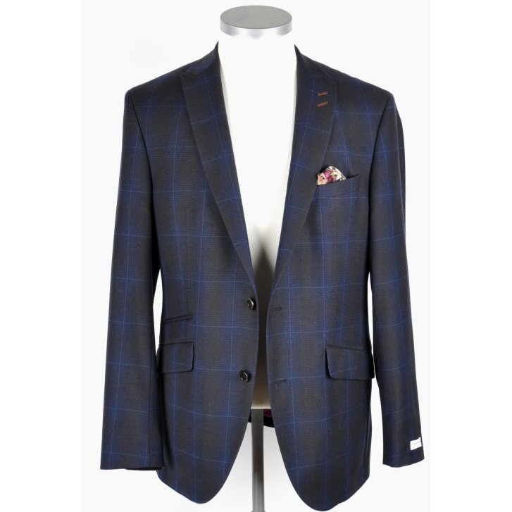 WITHOUT PREJUDICE Mens Tailored Blue and Brown Check Jacket