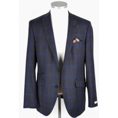 Mens Tailored Blue and Brown Check Jacket