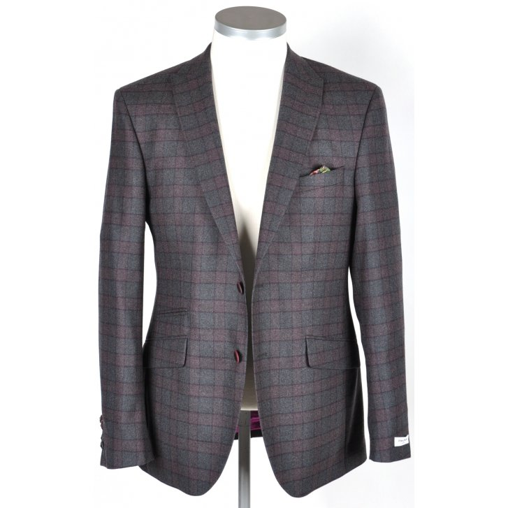 WITHOUT PREJUDICE Mens Tailored Check Jacket in a Reda Cloth