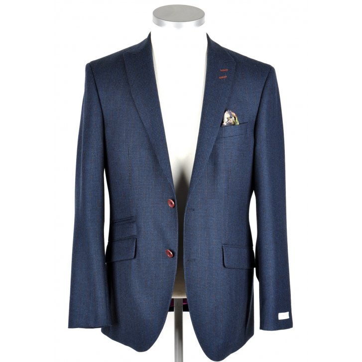 WITHOUT PREJUDICE Mens Tailored Houndstooth Blue Jacket