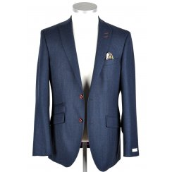 Mens Tailored Houndstooth Blue Jacket
