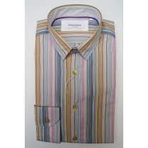 Mens Tailored Multi Stripe Single Cuff Cotton Shirt