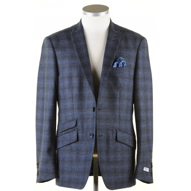 WITHOUT PREJUDICE Navy and Blue Tailored Check Jacket in a Reda Cloth