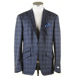 Navy and Blue Tailored Check Jacket in a Reda Cloth