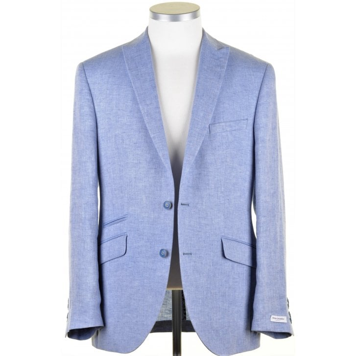 WITHOUT PREJUDICE Pure Linen Herringbone Single Breasted Tailored Jacket