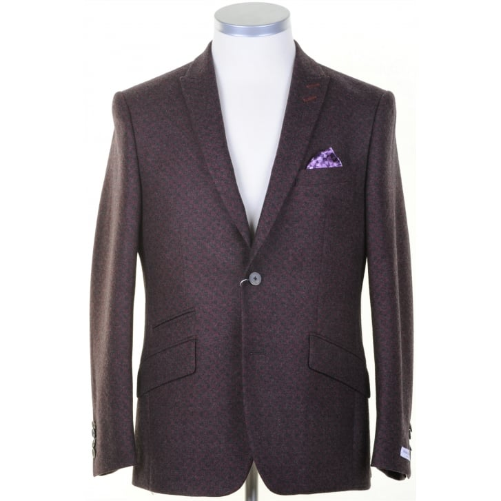 WITHOUT PREJUDICE Red and Grey Spotted Sports Jacket in Zignone Cloth