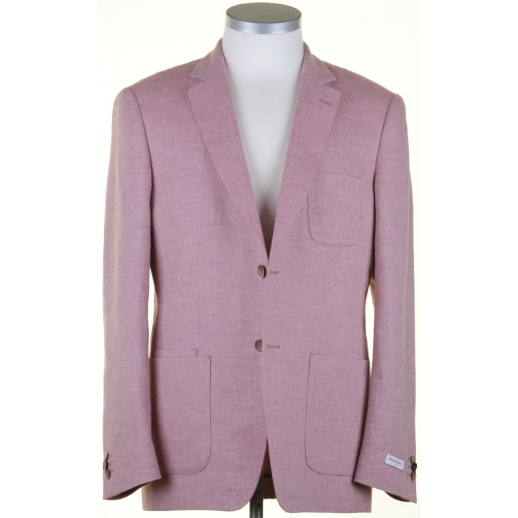 WITHOUT PREJUDICE Tailored Buggy Lined Linen Mix Pink Jacket in a Zignone Cloth