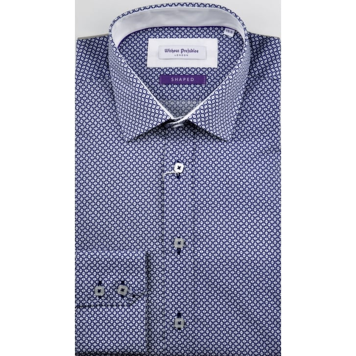 WITHOUT PREJUDICE Tailored Fancy Cotton Shirt with Trim
