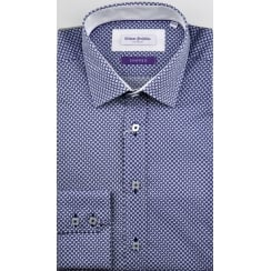 Tailored Fancy Cotton Shirt with Trim