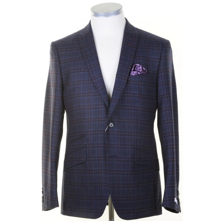 WITHOUT PREJUDICE Tailored Purple Check Wool Jacket