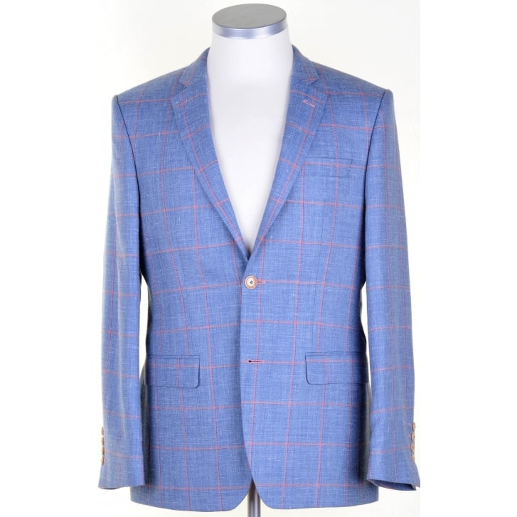 SANTINELLI Wool, Silk, and Linen Blue Summer Jacket