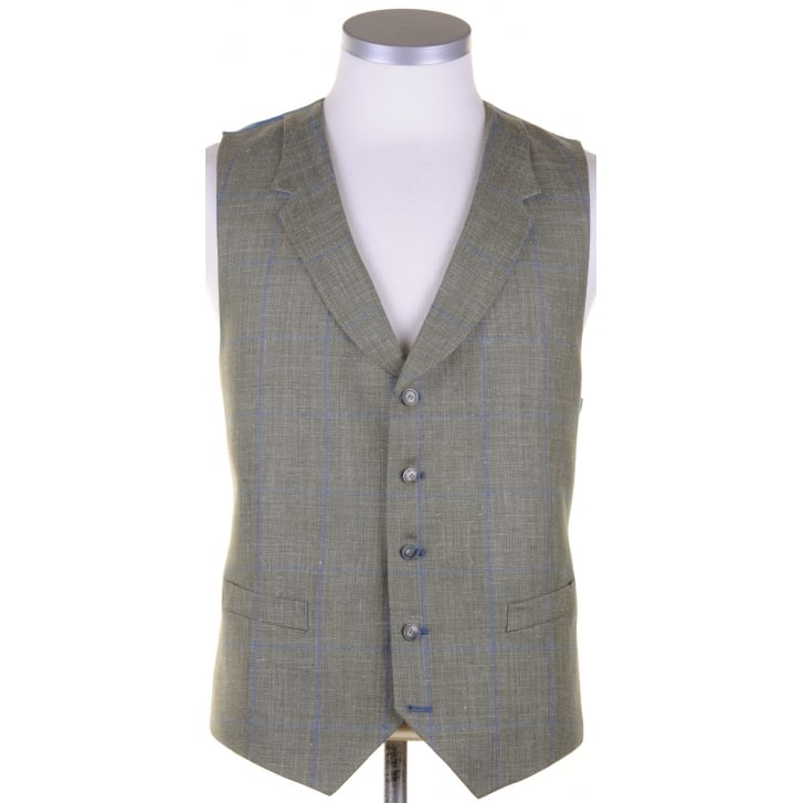 SANTINELLI Wool, Silk, and Linen Reid & Taylor Cloth Green Summer Waistcoat